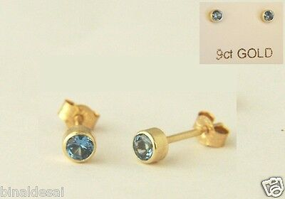 LADIES GIRLS 9ct GOLD TINY SMALL 3mm ROUND LONDON BLUE TOPAZ STUDS EARRINGS GIFT