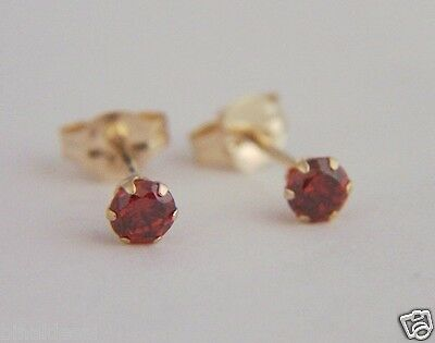 9ct Gold Tiny Small Round 2mm RUBY Studs Earrings Girls Kids B/'Day GIFT BOX NEW