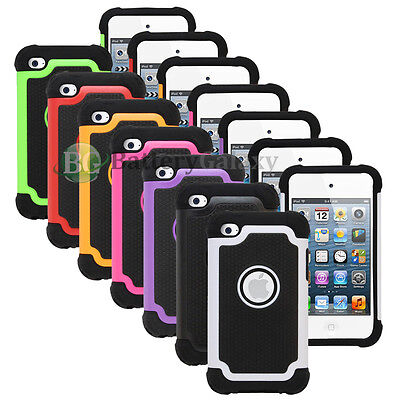 Lot of 7 Hybrid Rugged Rubber Matte Hard Case Cover for Apple iPod Touch 4 4th