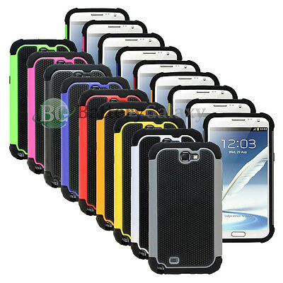 Lot of 9 Hybrid Rugged Rubber Matte Hard Case Cover for Samsung Galaxy Note 2
