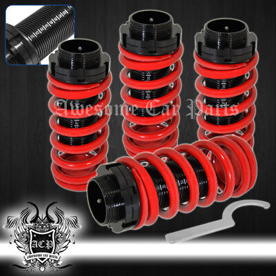 96-00 Civic Scale Adjustable Lower Coil Over Spring Kit Red + Aluminum Sleeve