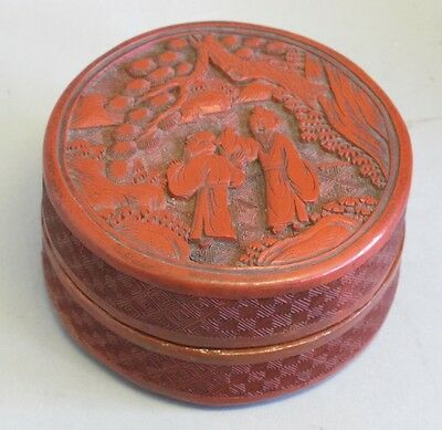 Antique Chinese Cinnabar Covered Box w/ Elders  c. 1900 (or earlier)   Asian