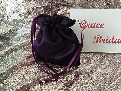 PURPLE SATIN DOLLY BAG BRIDAL BRIDESMAID PROM FLOWER GIRL BNIP **free samples**