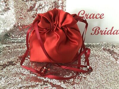 CLARET RED SATIN DOLLY BAG BRIDAL B/MAID PROM FLOWER GIRL BNIP **free samples**