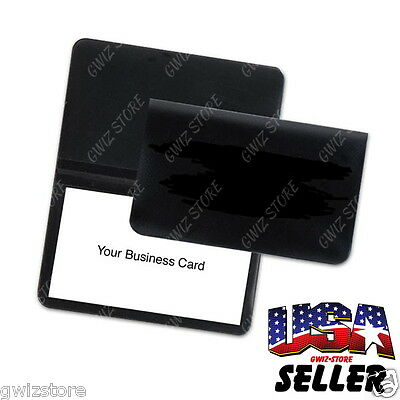 Business Card • License • Credit Card • ID Vinyl Thin Black Wallet Holder