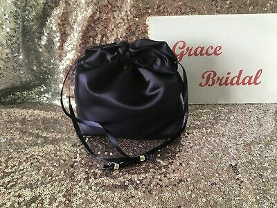 NAVY BLUE SATIN DOLLY BAG BRIDAL BRIDESMAID PROM FLOWER GIRL BNIP *free samples*