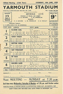 Yarmouth Stadium, Greyhound Racing 14 Jun 1958 Official Programme