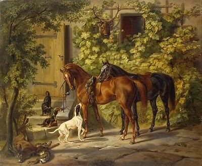 Canvas Print Hunting Return Oil painting Picture Printed on canvas 16x20 Inch