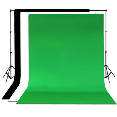 Green Screen Chroma Key with Black and White Backdrop stand Kit Background Set