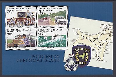 1991 Christmas Island Policing Minisheet Fine Mint Mnh/muh