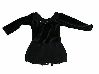 Girl Freestyle by Danskin Black Velour Skirted Ballet Leotard Dance Sz M 7/8