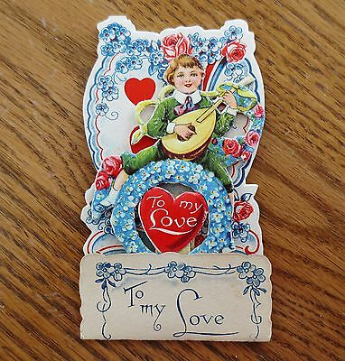 1920s Valentine's Day Pop Up 3D Card Boy Lute  Hearts Love Used Germany Made