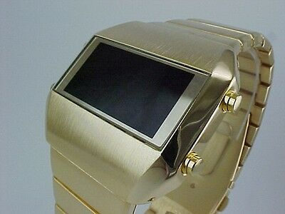 GOLD Rare Old Vintage 70s 1970s Style LED LCD DIGITAL Retro watch gts