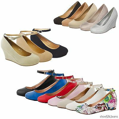 New Women Fashion Shoes Ankle Strap Buckle Sandal Platform Wedge High Heel Pumps