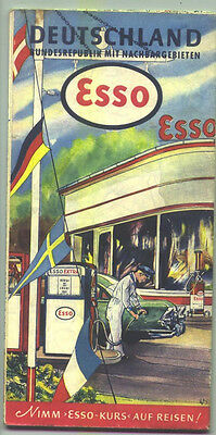 1959 Esso Germany (Deutschland) Vintage Road Map / Great Cover/ Nice Condition