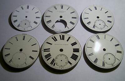 Job Lot of (6) Antique Used Pocket Watch Dials 41.7 to 47.3 mm Dial
