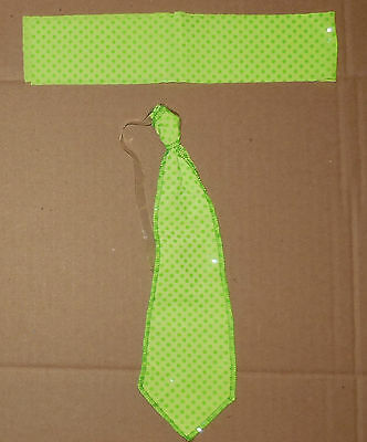 New DANCE TAP JAZZ HAT BAND AND TIE FL GREEN FAUX SEQUIN Small Child