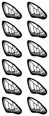 "12 Black Butterfly Wings 1 3/8"" X 3/4"" Fused Glass Ceramic Decals 14-CC-314"