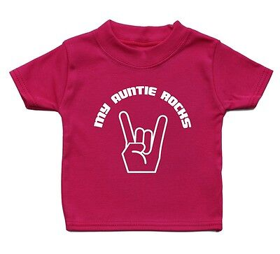 My Auntie Rocks T Shirt Funny Baby Boys Girl Gift Present Birthday Music Funky