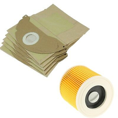 Karcher A2004 A2054 A2024 Wet & Dry Vacuum Cleaner Filter & 5 Dust Bags