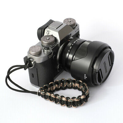 Camo/Blac Paracord Wrist Strap for DSLR Compact Mirrorless etc Sony Fuji Samsung