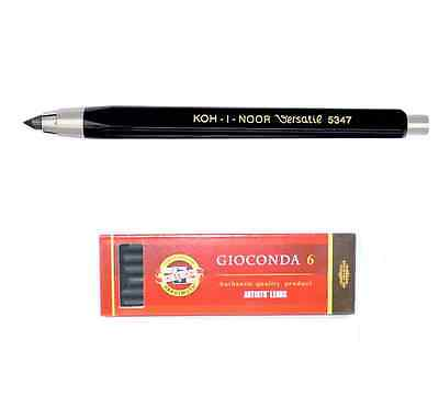 KOH-I-NOOR MECHANICAL CLUTCH PENCIL 5.6mm 2B 4B 6B GRAPHITE LEADS OR CHARCOAL ca