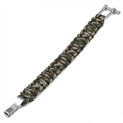 TRIXES Paracord Survival Bracelet Band Metal Buckle Camo