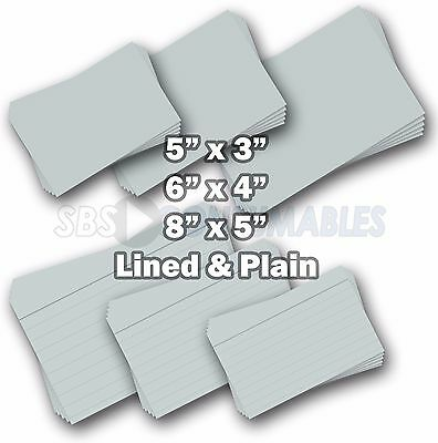 100 White Record Cards Lined or Plain. Index/Flash/Revision Cards in 3 Sizes