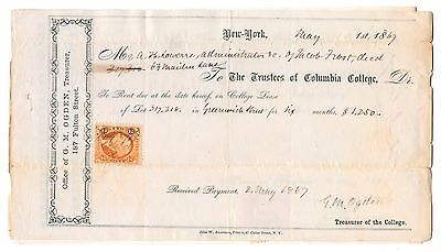 Rare 1867 Columbia College University New York City NYC rent bill +revenue stamp