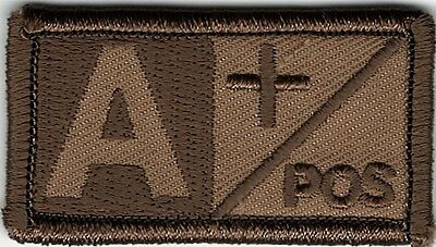 Brown Tan Blood Type A+ Positive Patch VELCRO® BRAND Hook Fastener Compatible