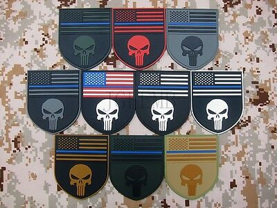 The thin blue line Devgru SealTeam Punisher american flag 3D PVC Patch