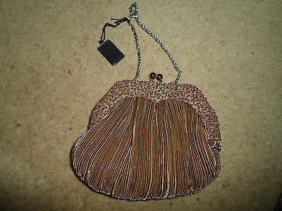 VINTAGE STYLE Good Unused Caramel Brown Small Bag / Purse With Short Chain