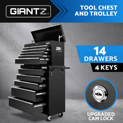 Giantz 14 Drawers Mechanic Tool Box Storage Cabinet Chest Trolley Roller Toolbox