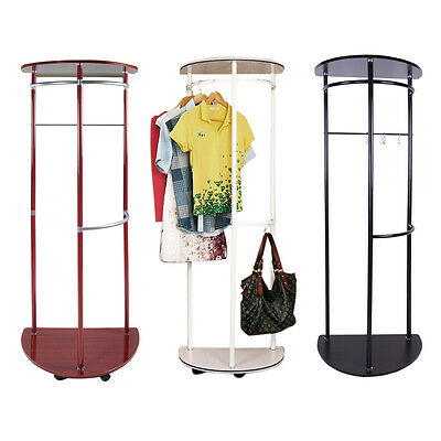 Wooden Coat Stand Hanging Clothes Rail Wall Shoe Storage Rack Movable Wheels