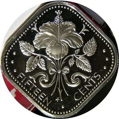 elf Bahamas 15 Cents 1974 Proof  Hibiscus  Flower