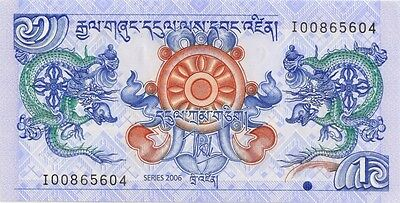"BHUTAN ( 2006 )  1 NGULTRUM  BANK NOTE ""DRAGON NOTE"" in a protective sleeve"