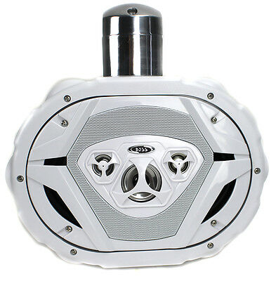 "New Boss MRWT69W 6x9"" 550W 4-Way Marine Wake Tower Boat Waterproof Speaker White"