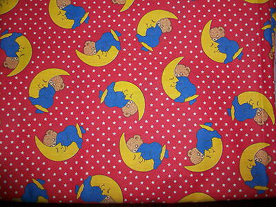 Sleepy Baby Bears And Crescent Moons Cotton Quilt Fabric