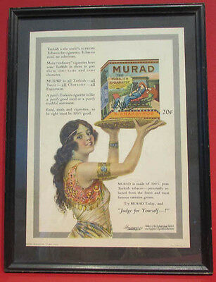 Authentic Old Original1921 Murad Ad * Professionally Framed Beautiful Lady * S22