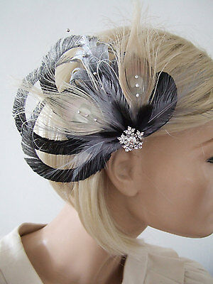 """Black Silver Beige Fascinator with Bleached Peacock Feathers on Clip """"Arlene"""""""