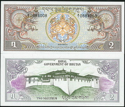Bhutan P-6 Beautiful 2 Ngultrum Currency Banknote Circa 1981 Nice Crisp Au-Unc!