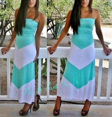 BLACK WHITE CHEVRON STRIPED BOHEMIAN LONG MAXI TUBE DRESS BOHO SUNDRESS S M L