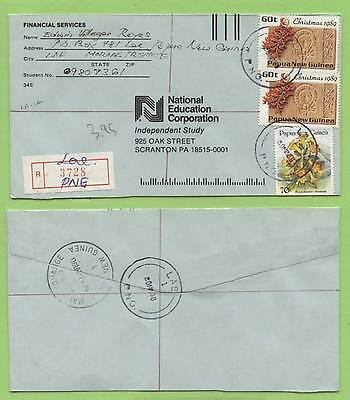 Papua New Guinea 1990 multifranked registered cover to USA, Lae cancel