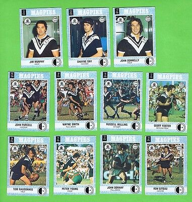 1977 Western Suburbs Magpies  Scanlens Rugby League Team Cards