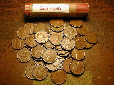 "Lincoln Wheat Cent Penny Roll Mixed Thirties, All ""D&S"" Mints!!"