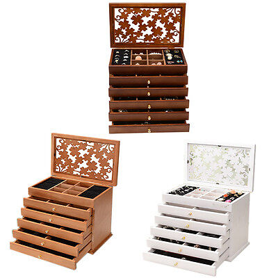 Large Wood Jewellery Box Display Organiser Wooden Storage Case Drawers