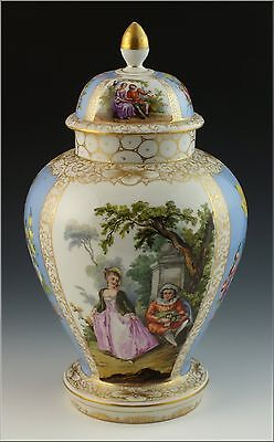 Beautiful 19thC Dresden Porcelain Hand Painted Covered Urn