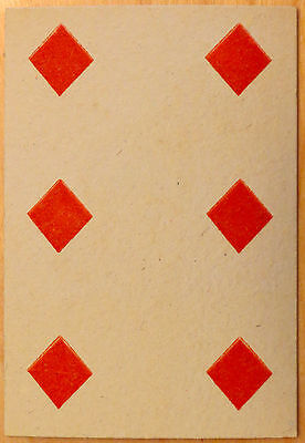 Vintage Circa 1865-1880 Great Mogul Belgian Playing Card 6 of Diamonds