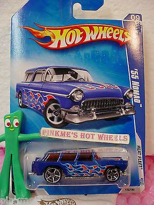 2009 Hot Wheels '55 Chevy Classic NOMAD 1955 #125 variant blue;oh5 ~ Heat Fleet