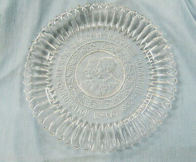 #t32.  1937 Glass Coronation Plate For King George Vi